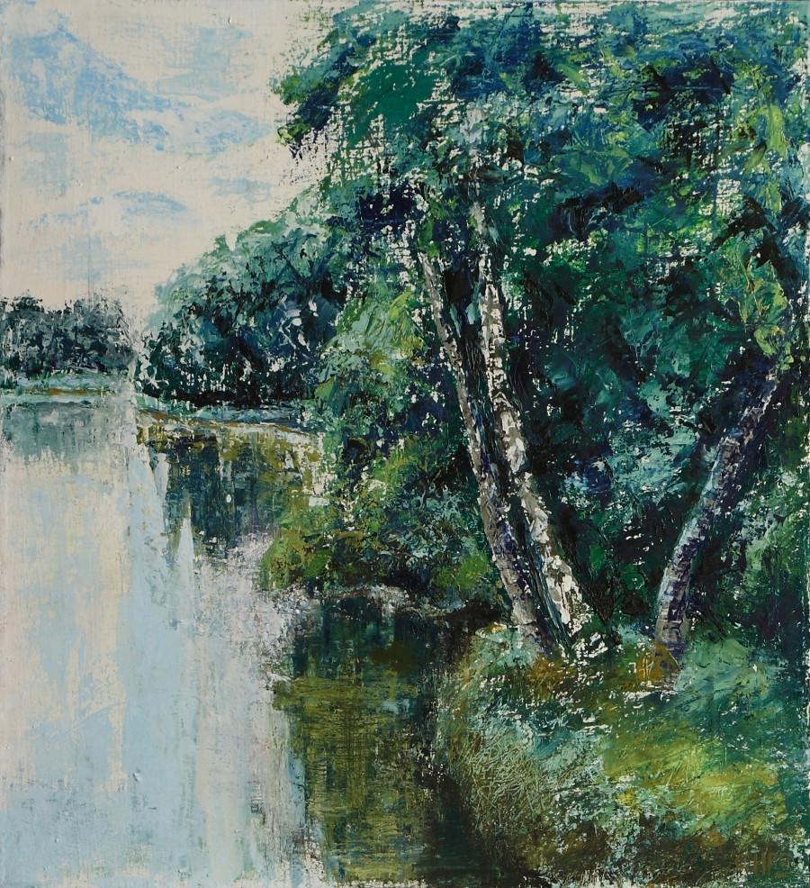 George Smith. Pejzaż z jeziorem. Olej. Płótno 50x70