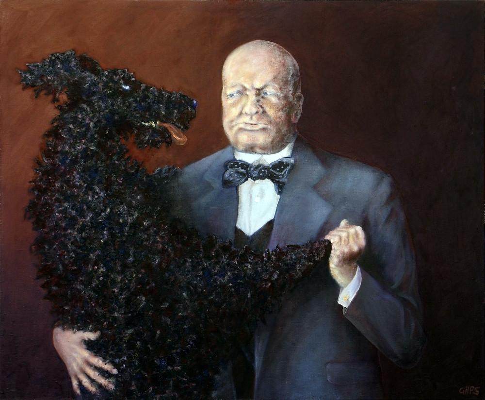George Smith. Winston Churchill i jego czarny pies. Olej. Płótno 100x120