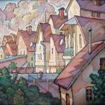 Czesław Szamszur. Nowa dzielnica. Karton. Pastel 45x61