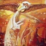 Wasyl Martyńczuk. Idący z aniołem. Olej. Płótno 50x70