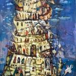 Wasyl Martyńczuk. Wieża Babilońska. Olej. Płótno 110x50