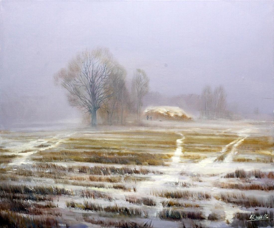 Wacław Romaszko. Zimowe ścieżki. Olej. Płótno 75x90