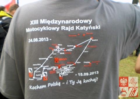 Trasa XIII Międzynarodowego Motocyklowego Rajdu Katyńskiego na koszulce