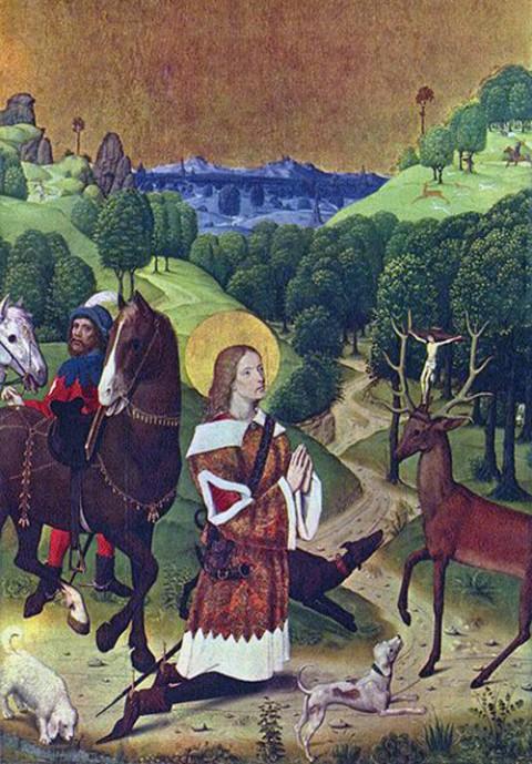 Święty Hubert spotyka jelnia z krzyżem pośród poroża, fot.: pl.wikipedia.org