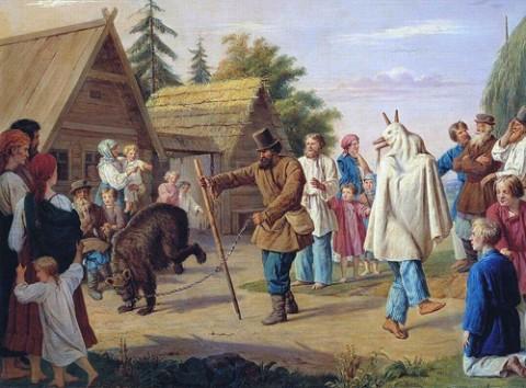Skomorochowie z niedźwiedziem na płótnie autorstwa Françoisa Nicholasa Rissa (1804-1886), fot.: wikipedia.org