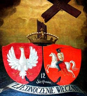 Obraz z 1861 r. upamiętniający Unię w Krewie, ilustracja: Kresy24.pl