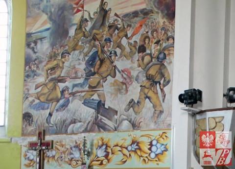 Fresk w kościele w Sołach, ukazujący scenę Bitwy Warszawskiej