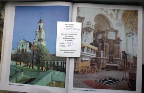 Zapowiedź odprawienia Mszy św. w intencji Witolda Pileckiego w Pobernardyńskim kościele w Grodnie, fot.: Dionizy Sałasz