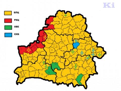 Dominujące wyznania według liczby parafii w rejonach