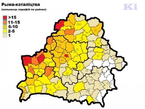 Koncentracja parafii katolickich w rejonach.