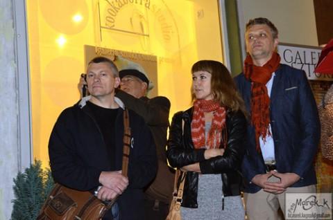 Malarze z Grodna Wacław Romaszko, Danuta Chilmanowicz i Andrzej Filipowicz