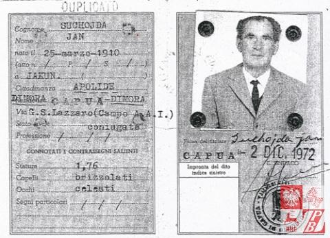Włoski dokument tożsamości Jana Suchojdy