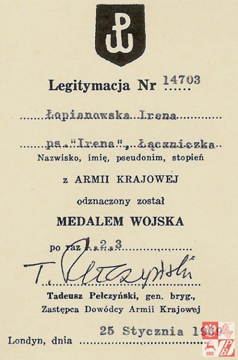 Legitymacja Medalu