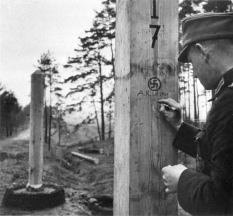 Żolnierz niemiecki na linii demarkacyjnej niemiecko - rosyjskiej