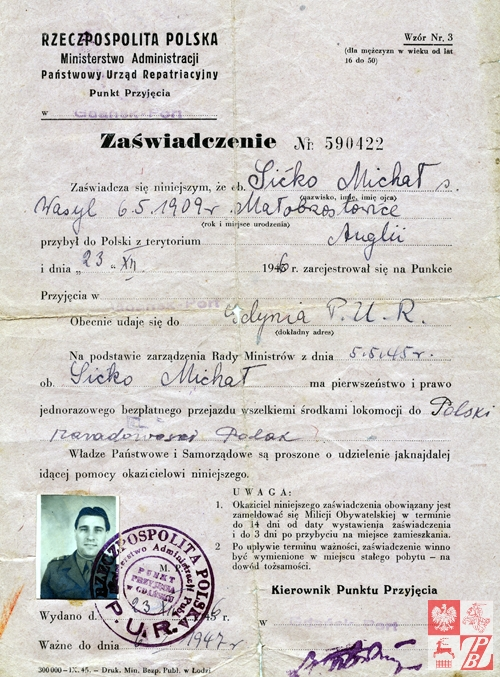 Zaświadczenie o przybyciu Michała Sićko do Polski z Anglii