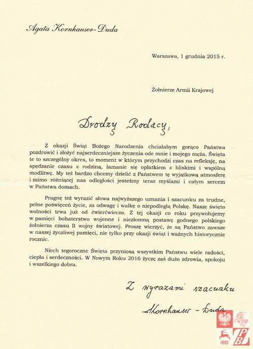 List Pani Prezydentowej do Żołnierzy Armii Krajowej