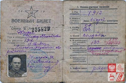Sowiecka książeczka wojskowa Leonarda Żydoka