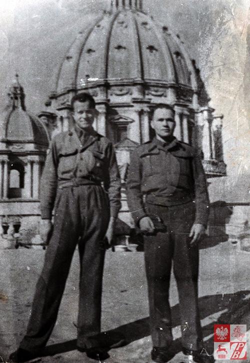 Leonard Żydok (po prawej) z towarzyszem broni podczas służby w Armii Andersa