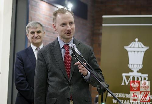 Przemawia Michał Chabros, charge d'affaires Ambasady RP w Mińsku