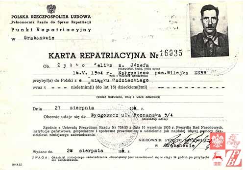 Karta repatriacyjna Feliksa Żyłki