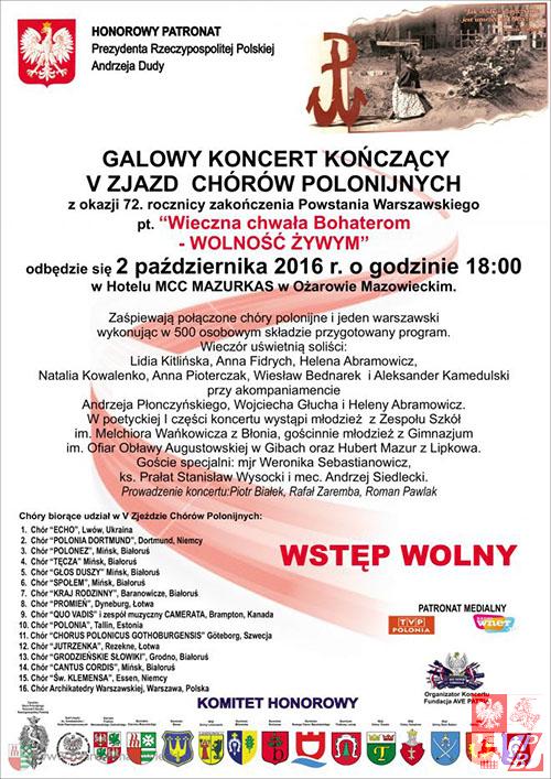 Afisz Koncertu Galowego V Zjazdu Chórów Polonijnych