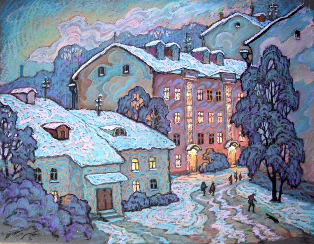 Czesław Szamszur. Witebsk, grudzień. Karton. Pastel 50x63