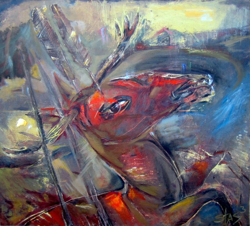 Stanisław Celuk. Polowanie na czerwonego jelenia. Olej. Płótno 90x80