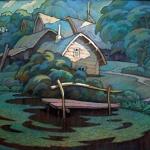 Czesław Szamszur. Folwark Albina. Karton. Pastel 56x70