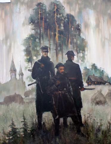 """Praca """"Żołnierze z lasu"""", autor Wiktor Kiebiec"""