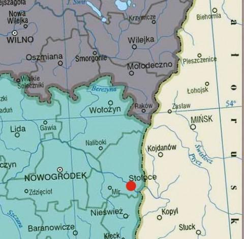 Mapa polsko-sowieckiej granicy w okolicach Stołpc, obok których leży Kołosowo