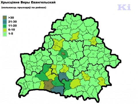 Koncentracja parafii ewangelickich w rejonach.