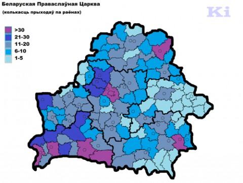 Koncentracja parafii prawosławnych w rejonach.