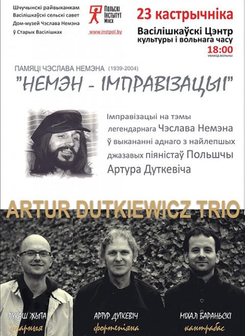 """Afisz koncertu """"Niemen Improwizacje"""" Artur Dutkiewicz Trio"""