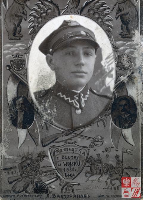 Michał Siagło na zdjęciu -pamiątce z wojska. zrobionego w Lidzie w 1936 roku