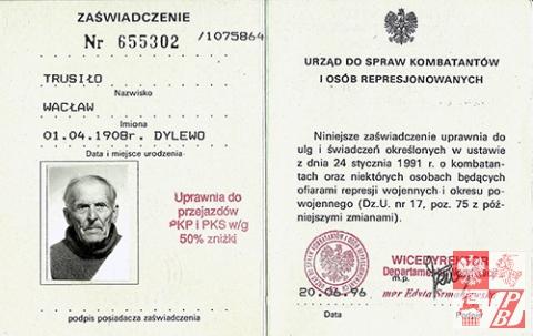 Zaświadczenie kombatanckie Wacława Trusiło