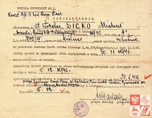 Zaświadczene o oddaniu st. strzelca Michała Sićko do dyspozycji władz brytyjskich celem odesłania do Polski