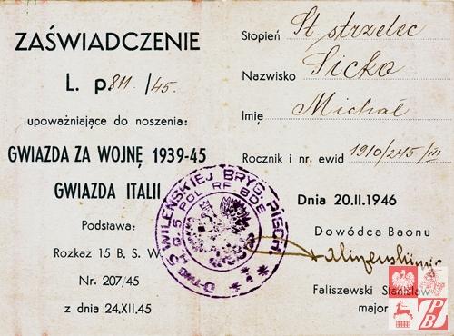 Zaswiadczenie_Gwiazda_za_wojne_1939-45_15_Baon_Strzelcow_Wilenskich