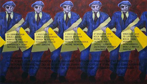 Obraz z wystawy zbiorowej Towarzystwa Plastyków Polskich przy ZPB poświęconej rocznicy agresji ZSRR przeciwko Polsce we wrześniu 1939 roku