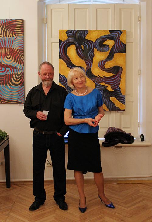 Artysta ze swoją muzą i małżonką Janiną Pilnik, prezes Towarzystwa Plastyków Polskich przy ZPB