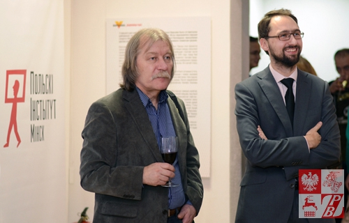 Ryhor Sitnica, przewodniczący Białoruskiego Ziązku Malarzy i szef Instytutu Polskiego w Mińsku Tomasz Adamski