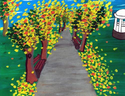 """Rysunek do utworu """"Jesień"""", znajdzie się na okładce kalendarza. Autor rysunku: Daria Statkiewicz, 13 lat, Szkolny Punkt Konsultacyjny, Mińsk, do utworu """"Jesień"""""""