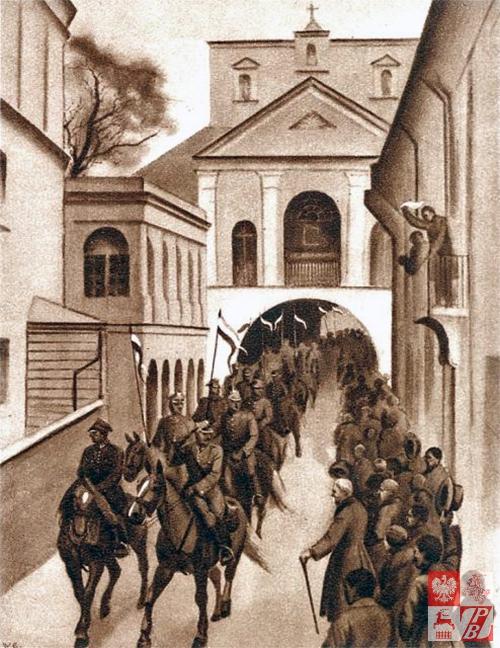 Karta pocztowa przedstawiająca wkroczenie wojsk polskich do Wilna w kwietniu 1919r., fot.: Narodowe Archiwum Cyfrowe