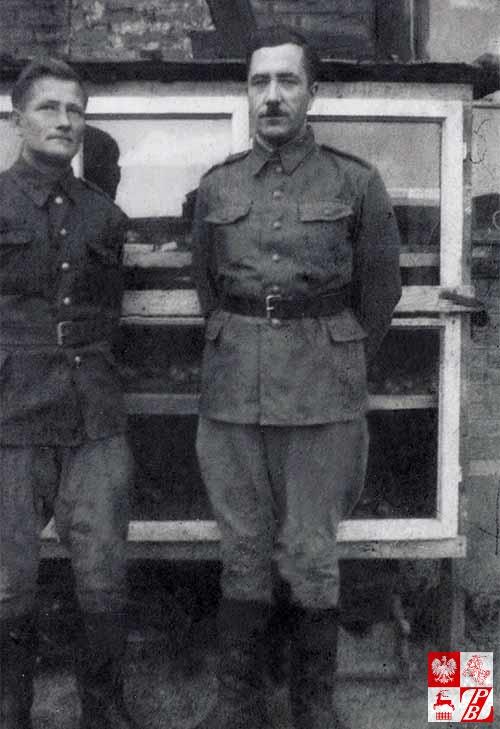 Feliks Żyłko z towarzyszem broni jako żołnierze Ludowego Wojska Polskiego