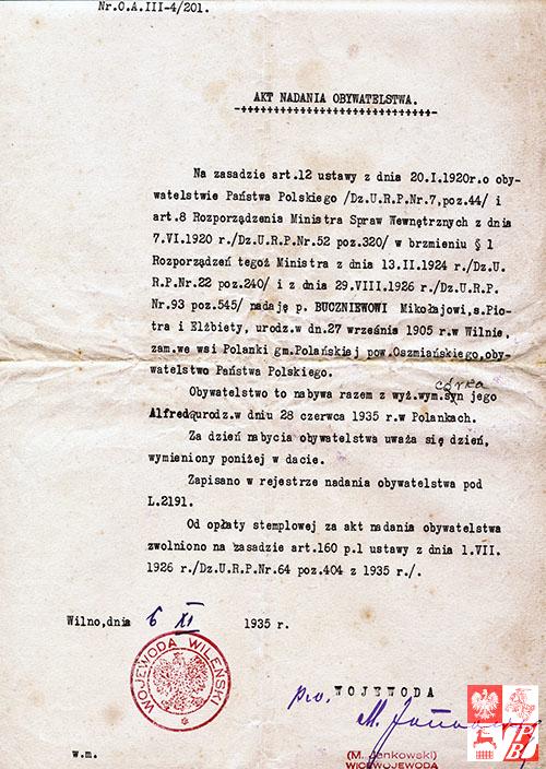 Mikolaj_Buczniew_akt_nadania_obywatelstwa