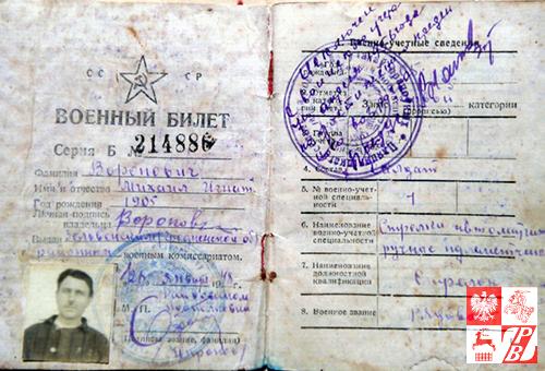 Radziecka książeczka wojskowa Michała Woronowicza